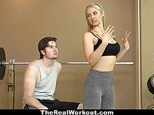 TheRealWorkout - Hot Milf (Sarah Vandella) Fucks Fitness Client   blonde busty cowgirls cum
