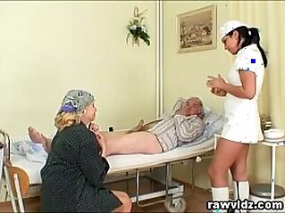 Naughty Hot Nurse Helps Old Patient To Get Laid | 3some blowjob cum cumshots