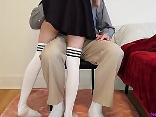 Little schoolgirl learns a deep lesson while getting tutored at home   cheerleader closeup creampie doggy