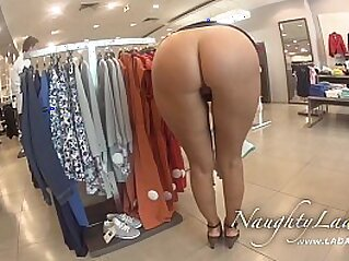 Flash in the mall and BJ in the fitting room | blowjob brunette fitness flashing