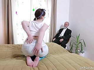 Old Goes Young - This old goes young guy admired Lenka\'s   bald pussy blowjob brunette cum